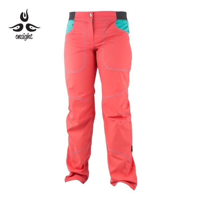 onsight girl long pant in coral blue front