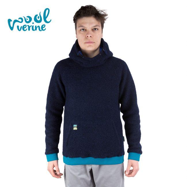 Wool Hoodie Blue Front1